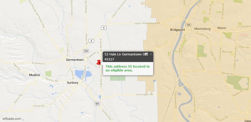 USDA Loan Eligiblity Maps From - Germantown, OH