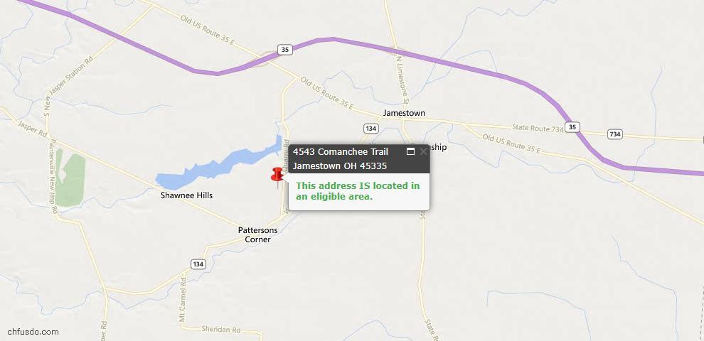 USDA Loan Eligiblity Maps From - Jamestown, OH