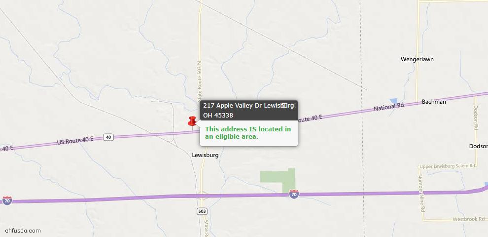 USDA Loan Eligiblity Maps From - Lewisburg, OH