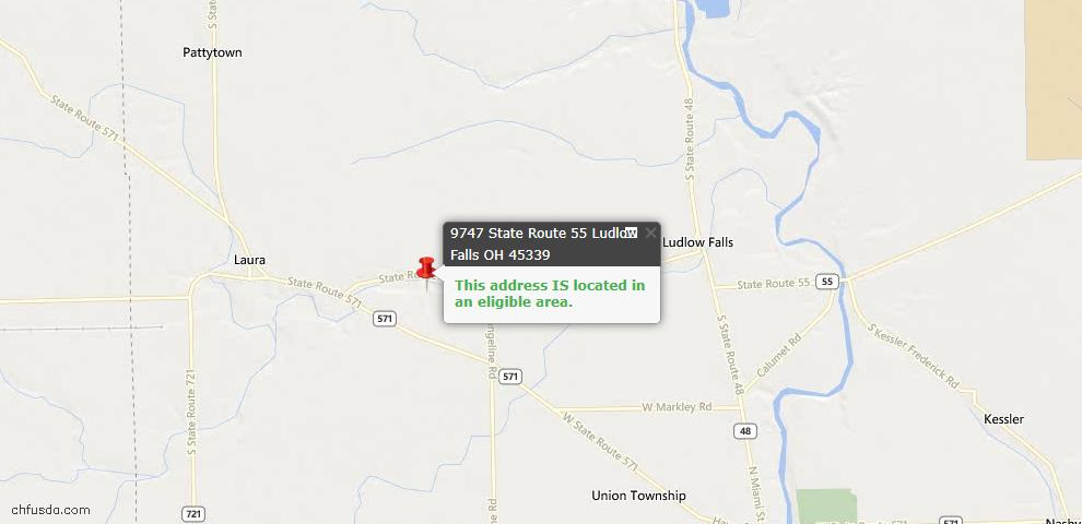 USDA Loan Eligiblity Maps From - Ludlow Falls, OH