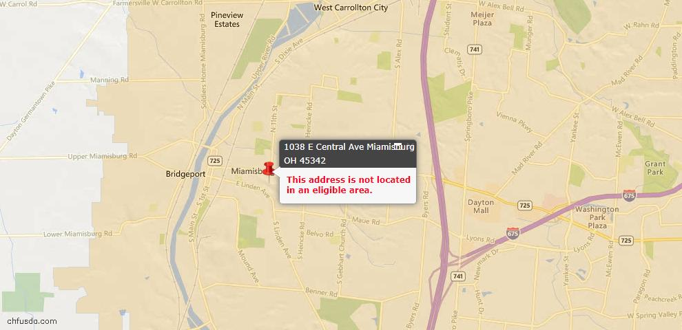 USDA Loan Eligiblity Map - 1038 E Central Ave, Miamisburg, OH 45342