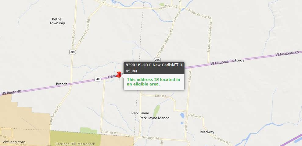 USDA Loan Eligiblity Maps From - New Carlisle, OH