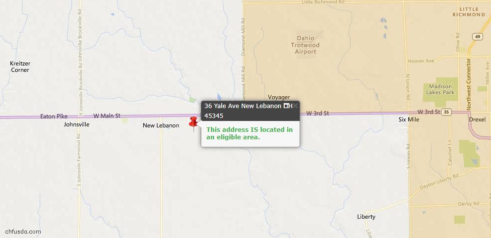 USDA Loan Eligiblity Maps From - New Lebanon, OH