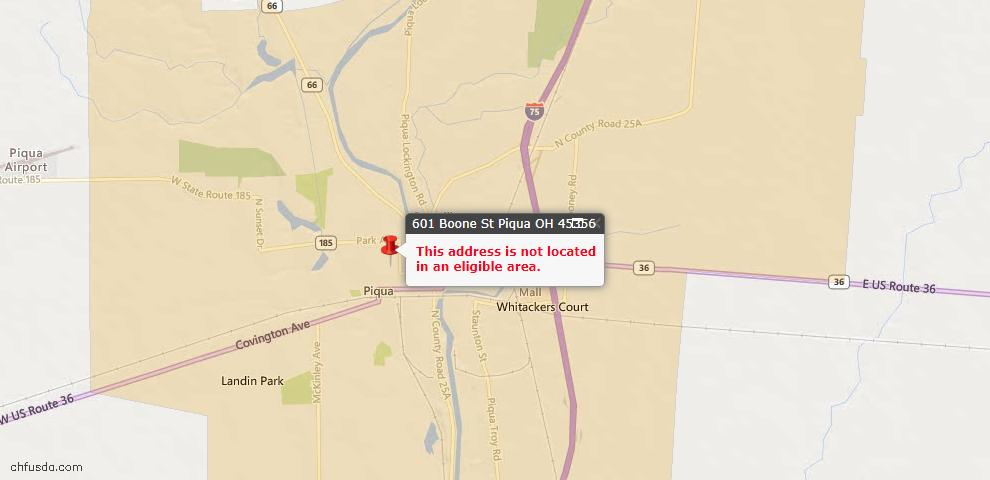 USDA Loan Eligiblity Maps From - Piqua, OH