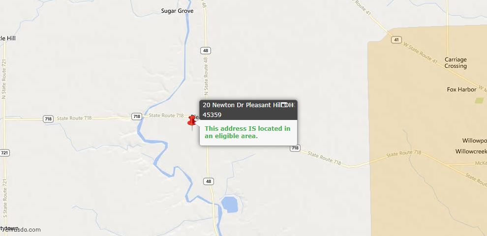 USDA Loan Eligiblity Maps From - Pleasant Hill, OH