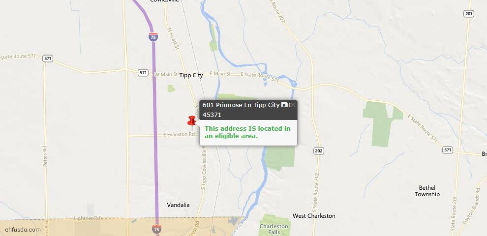 USDA Loan Eligiblity Maps From - Tipp City, OH