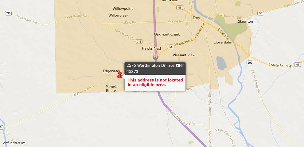USDA Loan Eligiblity Maps From - Troy, OH