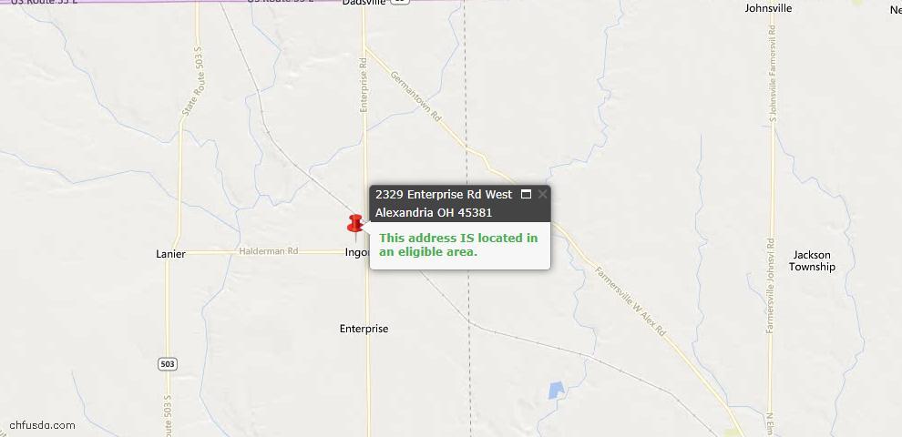 USDA Loan Eligiblity Maps From - West Alexandria, OH