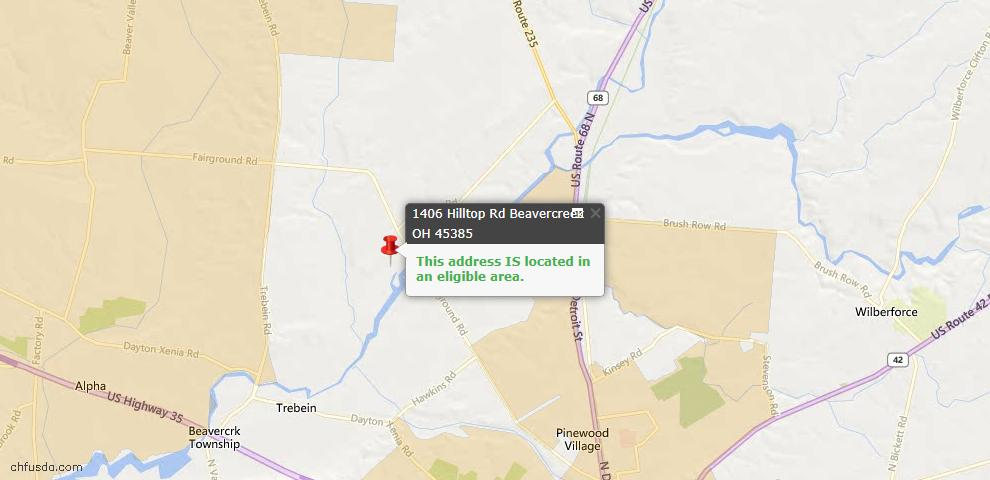 USDA Loan Eligiblity Maps From - Beavercreek Township, OH
