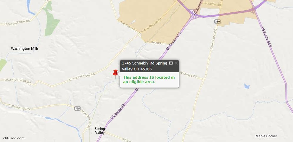 USDA Loan Eligiblity Maps From - Spring Valley, OH