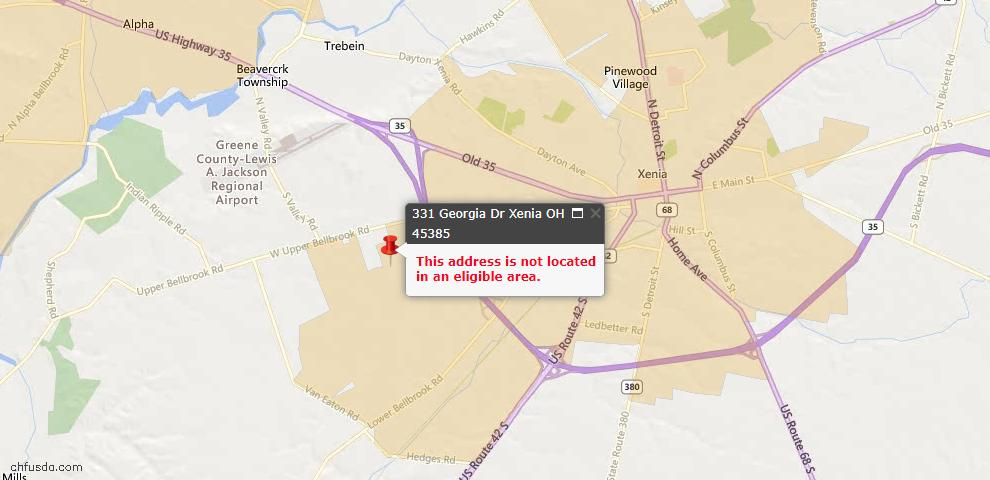 USDA Loan Eligiblity Maps From - Xenia, OH