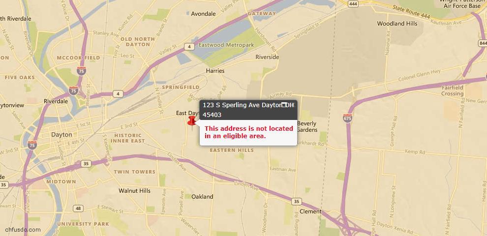 USDA Loan Eligiblity Map - 123 S Sperling Ave, Dayton, OH 45403
