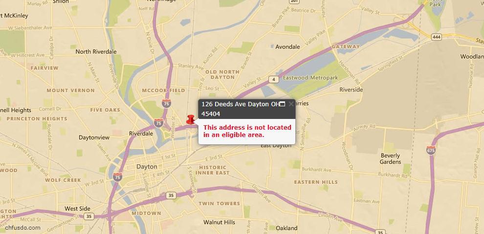 USDA Loan Eligiblity Map - 126 Deeds Ave, Dayton, OH 45404
