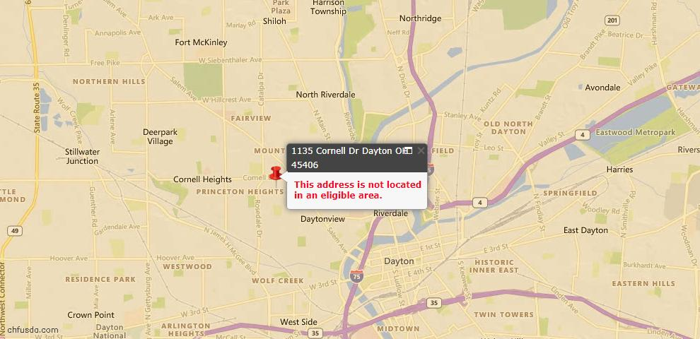 USDA Loan Eligiblity Maps From - 45406, OH