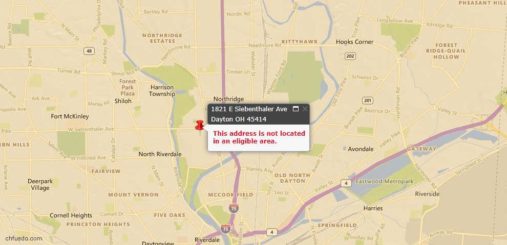 USDA Loan Eligiblity Map - 1821 E Siebenthaler Ave, Dayton, OH 45414