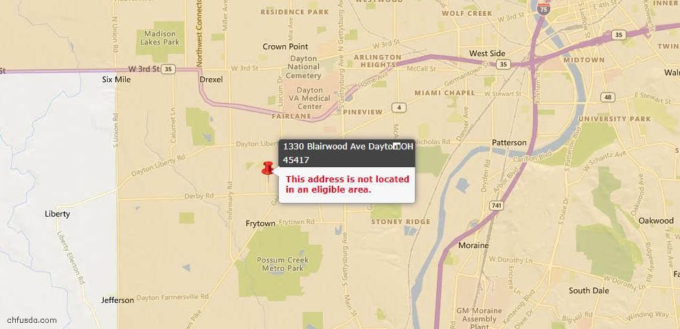 USDA Loan Eligiblity Map - 1330 Blairwood Ave, Dayton, OH 45417