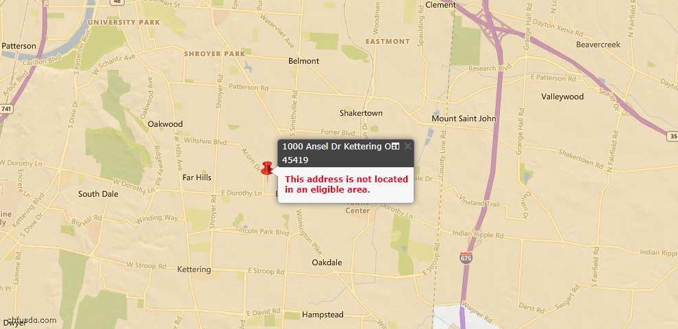 USDA Loan Eligiblity Map - 1000 Ansel Dr, Kettering, OH 45419