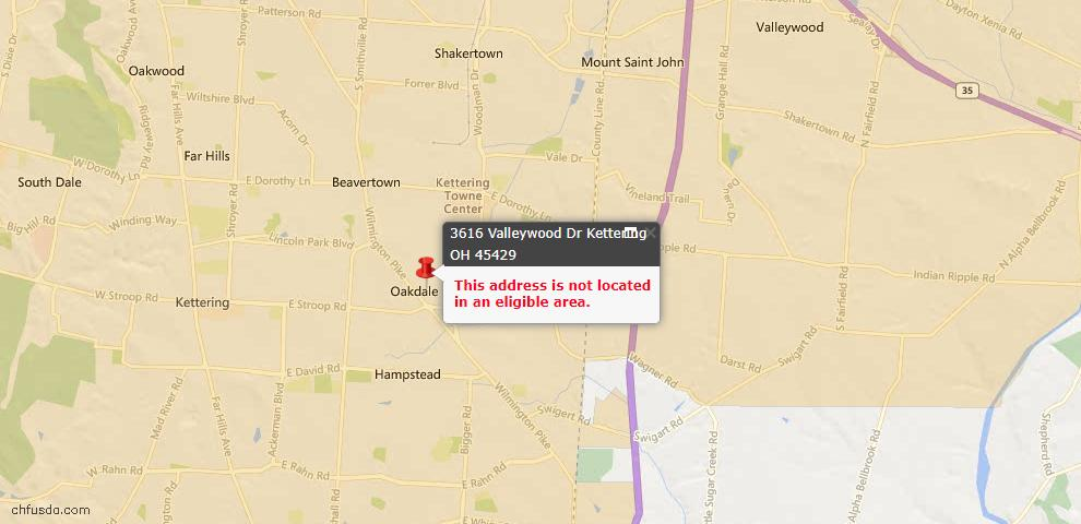 USDA Loan Eligiblity Maps From - Kettering, OH