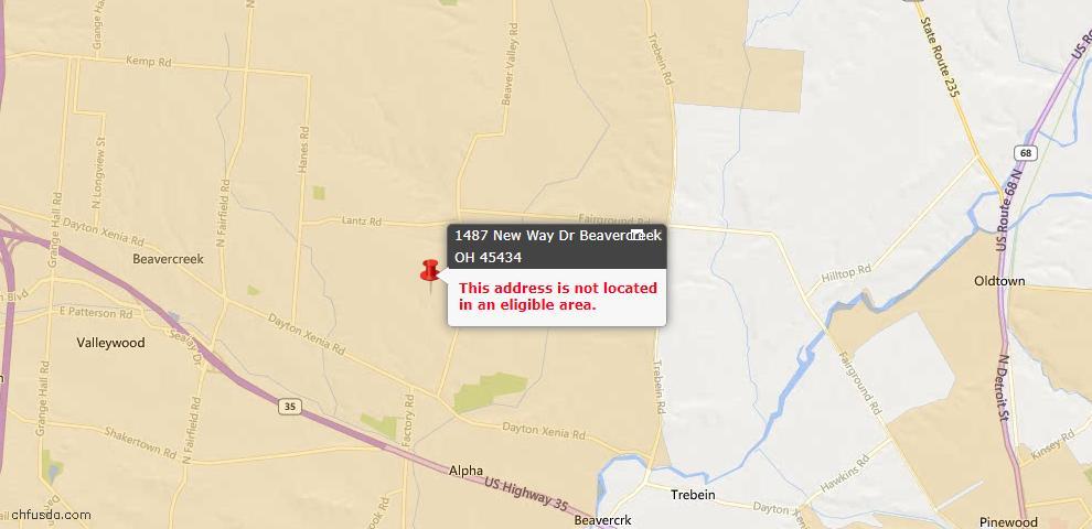 USDA Loan Eligiblity Maps From - Beavercreek, OH