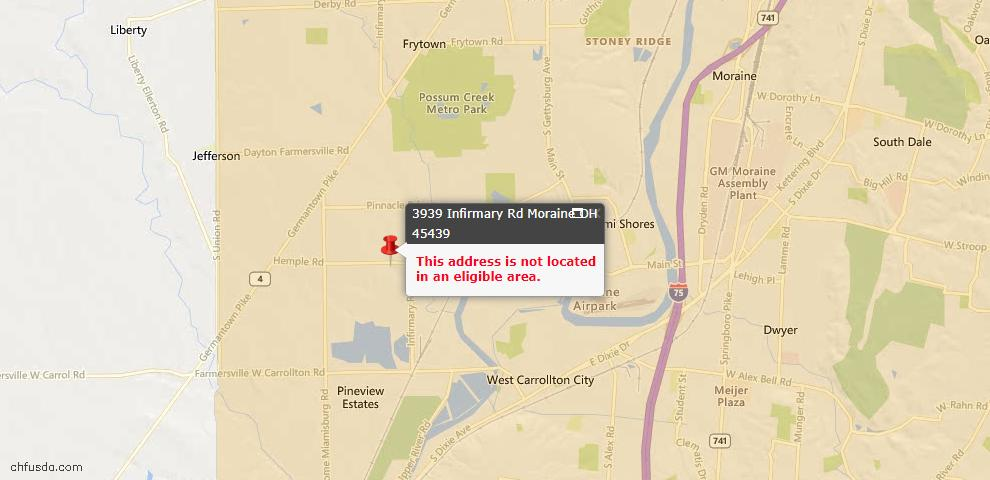 USDA Loan Eligiblity Maps From - Moraine, OH
