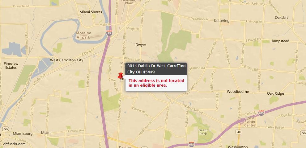 USDA Loan Eligiblity Maps From - West Carrollton, OH