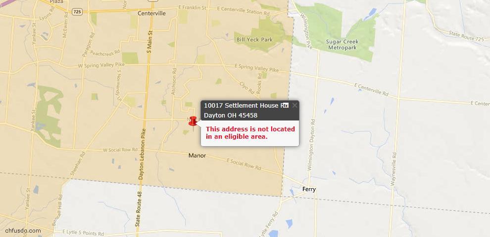 USDA Loan Eligiblity Map - 10017 Settlement House Rd, Dayton, OH 45458