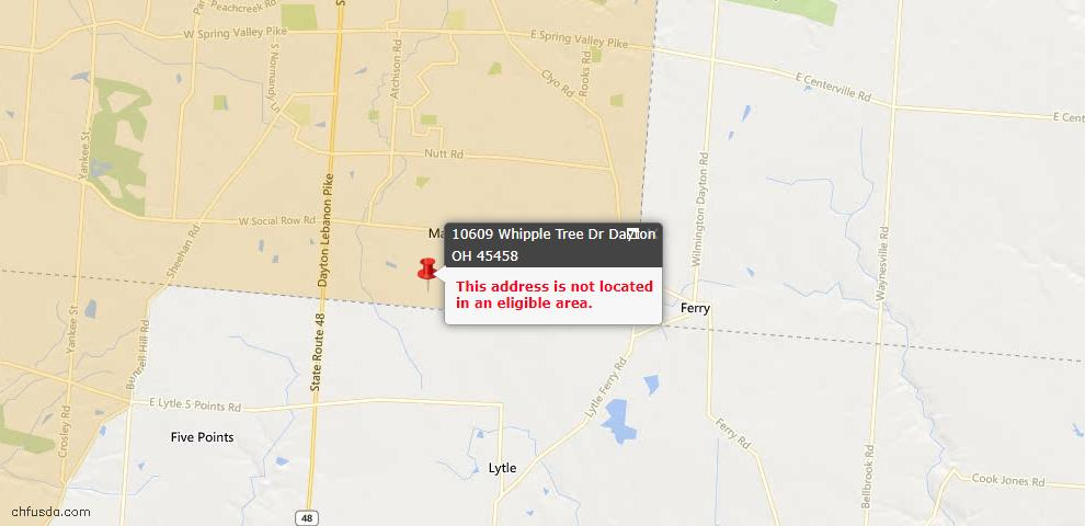 USDA Loan Eligiblity Map - 10609 Whipple Tree Dr, Dayton, OH 45458