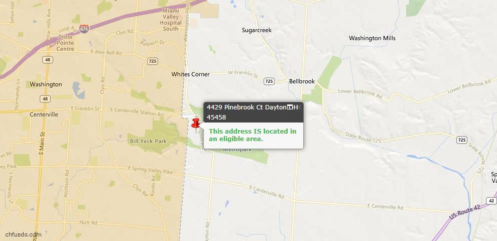 USDA Loan Eligiblity Maps From - Bellbrook, OH