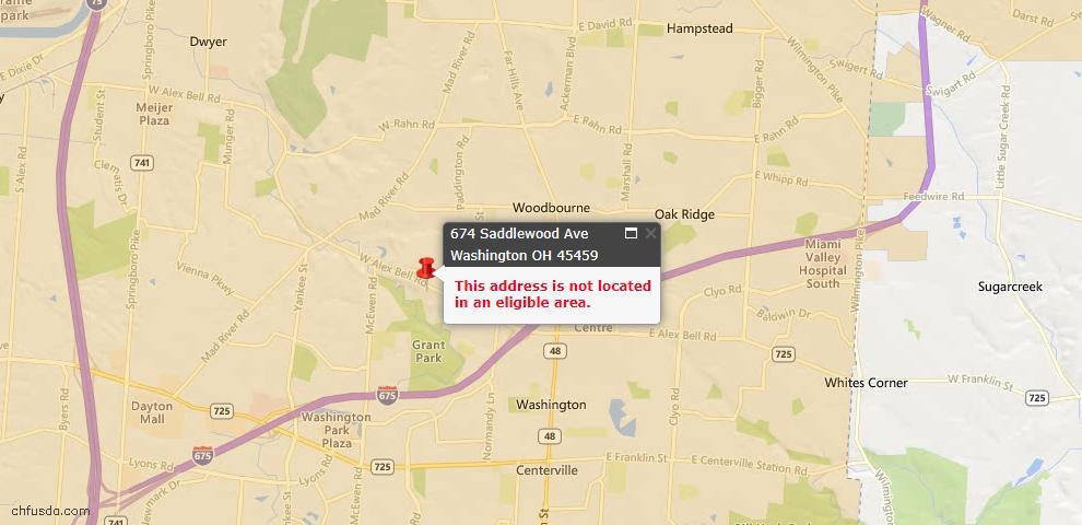 USDA Loan Eligiblity Map - 674 Saddlewood Ave, Washington Township, OH 45459
