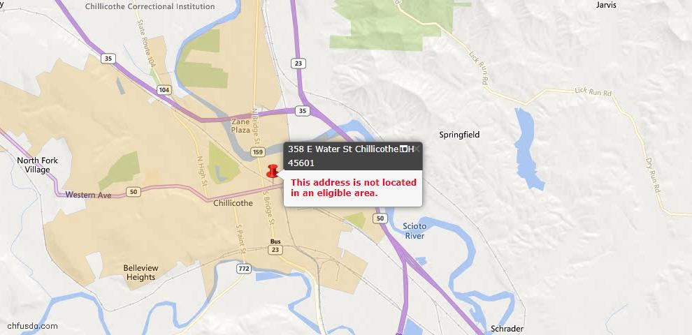 USDA Loan Eligiblity Maps From - Chillicothe, OH