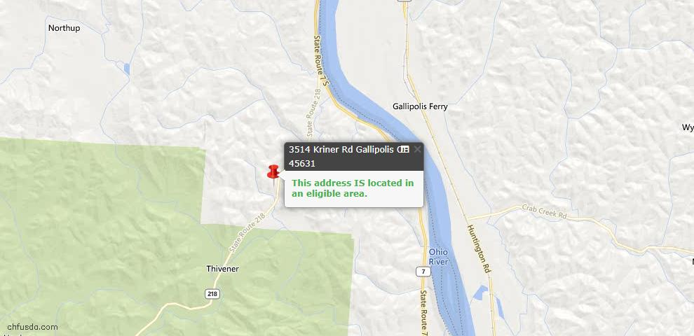 USDA Loan Eligiblity Maps From - Gallia County, OH