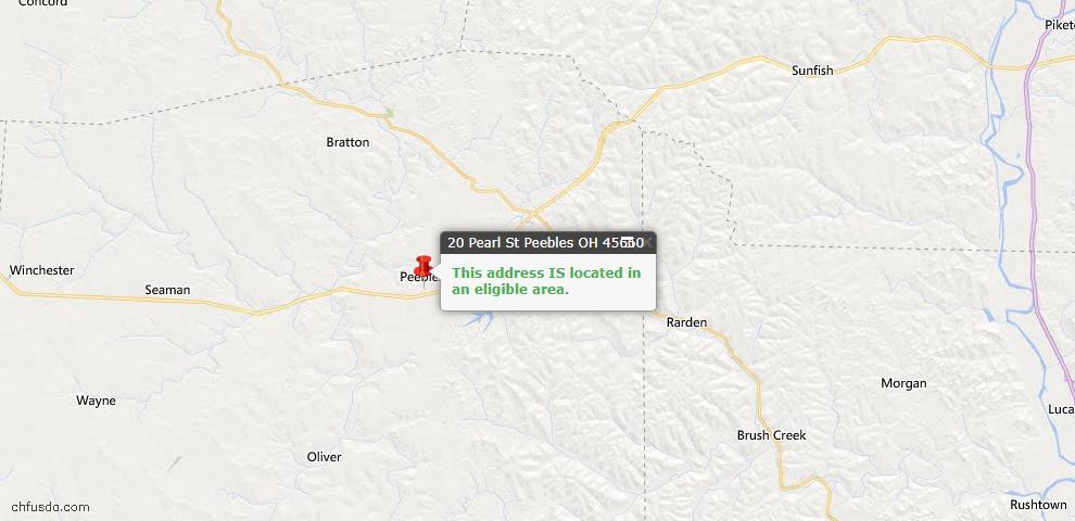 USDA Loan Eligiblity Map - 20 Pearl St, Peebles, OH 45660