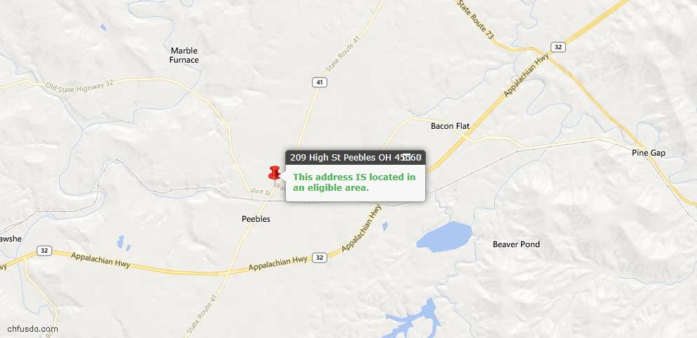 USDA Loan Eligiblity Maps From - Peebles, OH