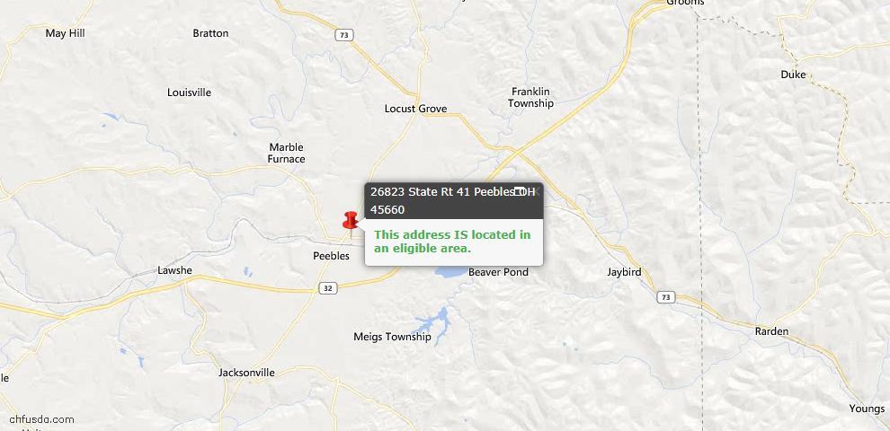 USDA Loan Eligiblity Map - 26823 St Rt 41, Peebles, OH 45660