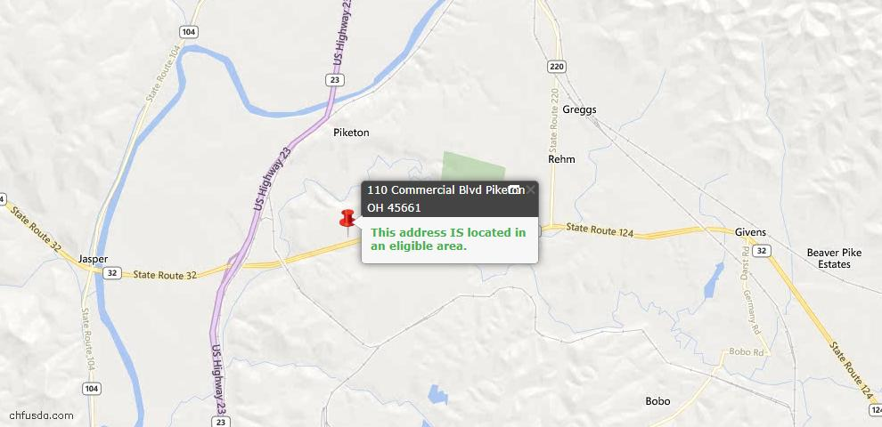 USDA Loan Eligiblity Maps From - Piketon, OH