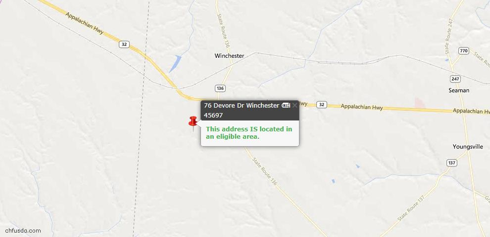 USDA Loan Eligiblity Maps From - Winchester, OH