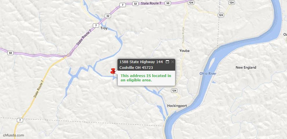 USDA Loan Eligiblity Maps From - Coolville, OH