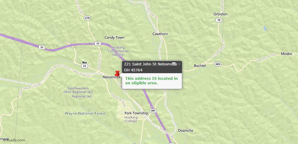 USDA Loan Eligiblity Maps From - Nelsonville, OH