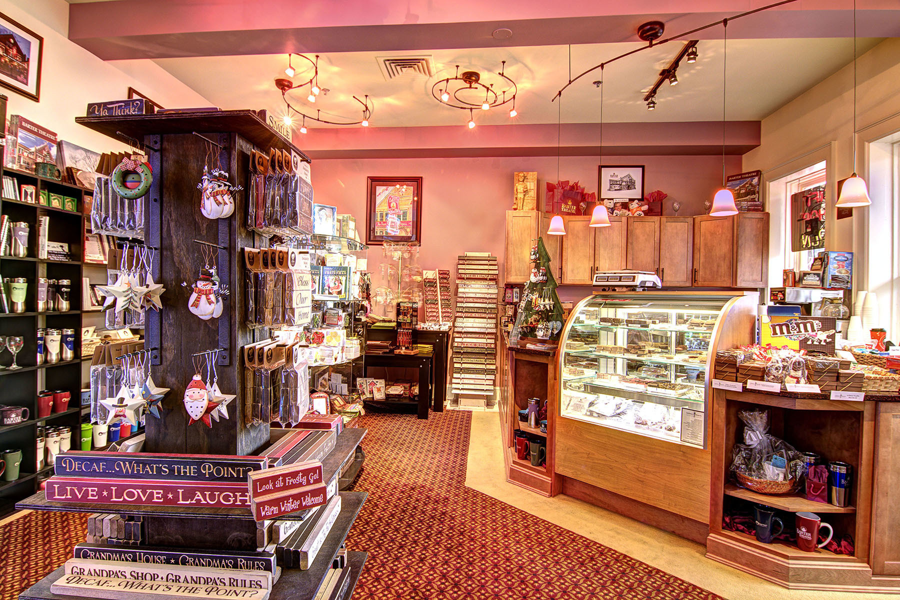 The gift shop in the Barter Theatre is especially festive at Christmas.