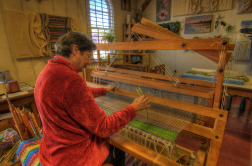 Arts Depot weaver at work credit Jason Barnette