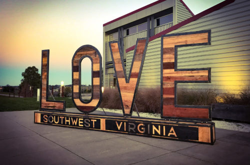 SWVA Cultural Center LOVE sign exterior