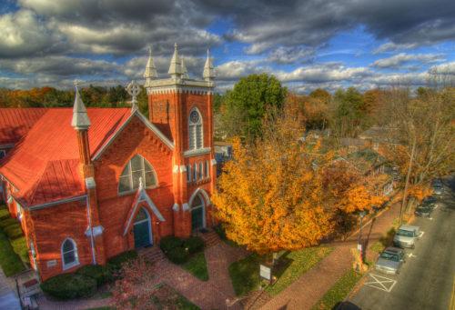 Methodist church downtown Main Street aerial credit Jason Barnette