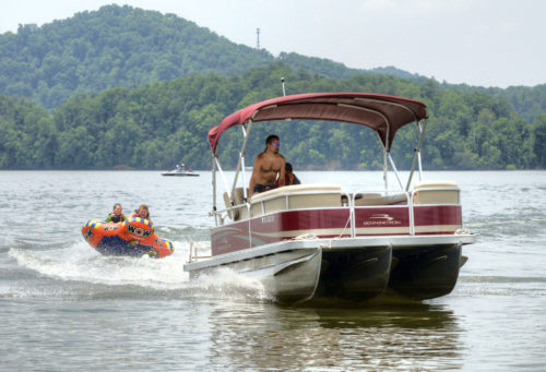 Pontoon and raft on South Holston Lake credit Jason Barnette