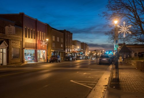 Downtown Abingdon Shopping District At Dusk Christmas