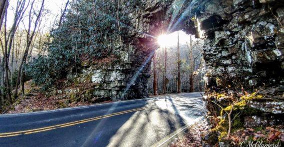 Sun shining through Backbone Rock credit Chad McGlamery