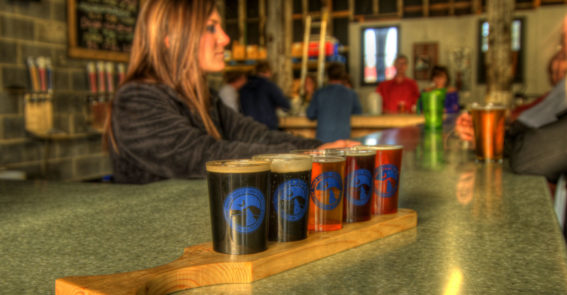 Flight of beers Wolf Hills Brewing credit Jason Barnette