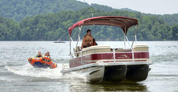 Pontoon and raft on South Holston Lake credit Jason Barnette