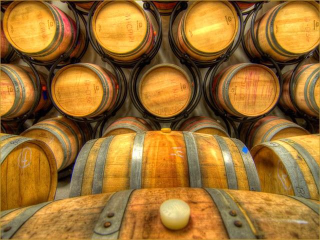 Barrels of wine at Abingdon Vineyard and Winery