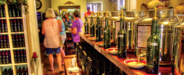 Peruse and taste a variety of olive oils at Abingdon Olive Oil Company