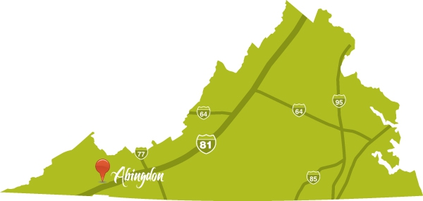 Abingdon, Virginia is located on I-81 in the mountains of Southwest Virginia.